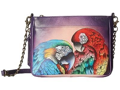 Anuschka Handbags 636 Compact Crossbody with Front Pocket (Rainforest Royalty) Handbags