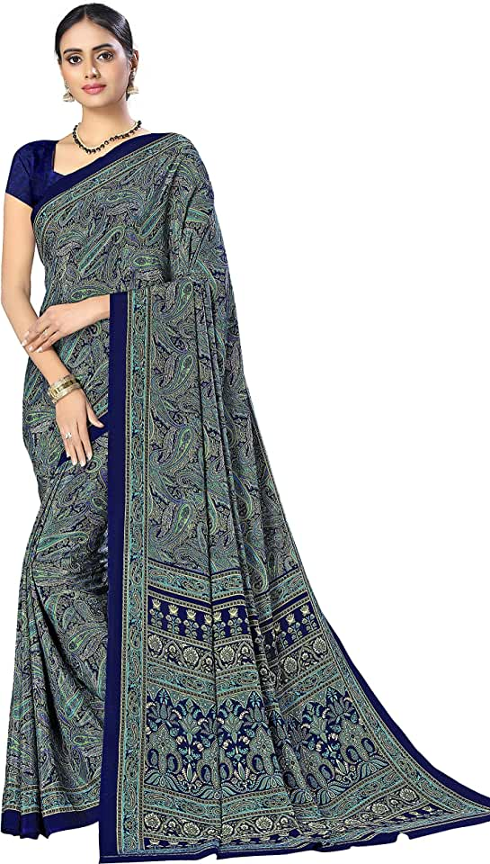 Indian ARUNA SAREES Women's Mysore Silk Pure Crepe Saree With Blouse Piece (1338 Crepe _Multicolored) Saree