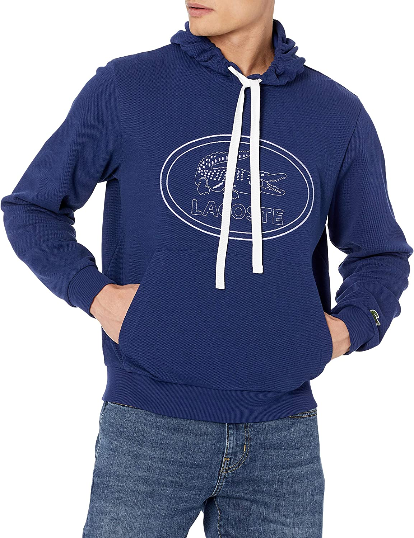 Lacoste Men's Long Sleeve Tonal Embroidered Large Croc Hooded Sweatshirt