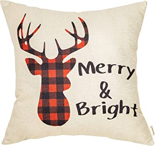 Fahrendom Christmas Sign Merry and Bright Buffalo Plaid Deer Seasonal Quote Winter Cotton Linen Home Decorative Throw Pillow Case Cushion Cover with Words for Sofa Couch 18 x 18 in