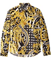 Versace Kids - Long Sleeve Dress Shirt with Barocco Print (Big Kids)