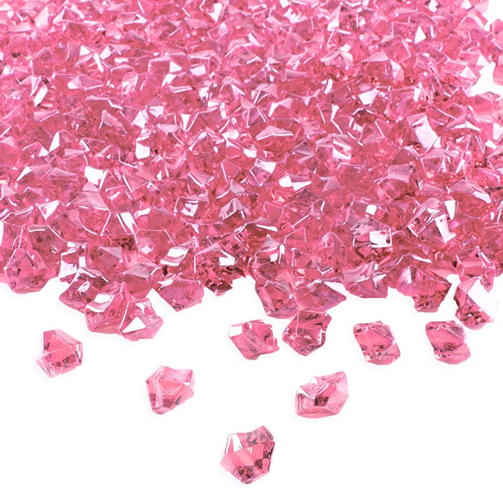 Super Z Outlet Acrylic Color Ice Rock Crystals Treasure Gems for Table Scatters, Vase Fillers, Event, Wedding, Birthday Decoration Favor, Arts & Crafts (385 Pieces) (Pink)