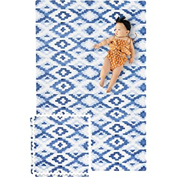 Yay Mats Stylish Extra Large Baby Play Mat. Soft, Thick, Non-Toxic Foam Covers 6 ft x 4 ft. Expandable Tiles with Edges Infants and Kids Playmat Tummy Time Mat (Jackson Rug Blue)