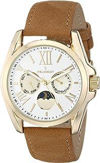 ساعة بيجو 3040GBR لون ذهبي بحزام جلد بني