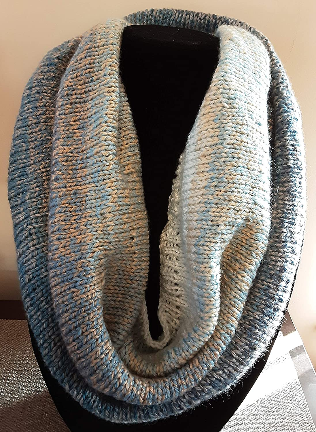 Handmade Popular Max 83% OFF standard Firefly Ombre Tweed Stripe Cowl Scarf Blue Gre Infinity