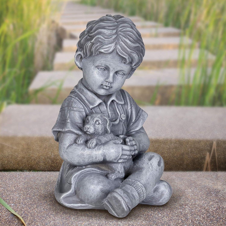 "Classic Garden Decor Exhart Child /& Puppy Garden Statue Child Art Resin Decor Best for Porch Yard and Garden Patio 10/"" Stone Boy Statue Imitation Stone Statue of Little Boy /& Dog"
