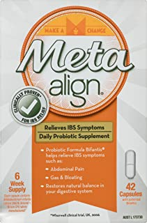 Meta Align - Daily Probiotic Supplement for Relieve of Irritable Bowel Syndrome & Symptoms Including Abdominal Pain, Gas & Bloating - 42 Capsules [Australian Version]