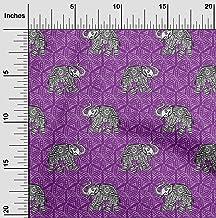 oneOone Organic Cotton Poplin Twill Fabric Elephant Block Print Fabric by Meter 42 Inch Wide
