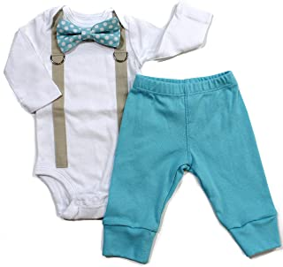 Baby Boy Coming Home Outfit with Bow Tie and Suspenders in Aqua