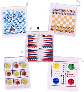IQ Toys Wooden Game Set - 5 Wooden Board Games with Individual Bags, Great for Travel, Road Trips