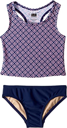 Toobydoo - Navy Pink Pattern Tankini (Infant/Toddler/Little Kids/Big Kids)