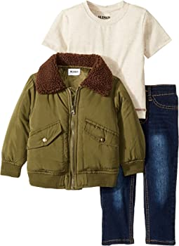 Poly Puffer Jacket with Sherpa Collar, Oatmeal Heather Jersey Tee, Stretch Denim Jeans (Toddler)