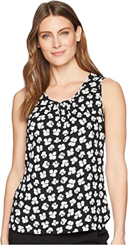 Printed Pleat Neck Shell