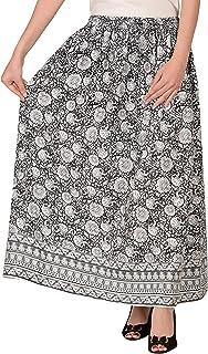 COTTON BREEZE Women's Cotton A-Line Skirt (FP32, Grey and Black, Free Size)