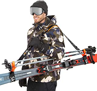 Best Ski Strap and Pole Carrier   Avoid The Struggle and Effortlessly Transport Your Ski Gear Everywhere You Go   Features Cushioned Shoulder Sling   Great for Families - Men, Women and Kids - Orange Review