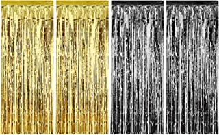 Sumind 4 Pack Foil Curtains Metallic Fringe Curtains Shimmer Curtain for Birthday Wedding Party Christmas Decorations (Gold and Black)