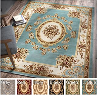 Pastoral Medallion Light Blue French Area Rug European Formal Traditional Area Rug 7' x 9' Easy Clean Stain Fade Resistant Shed Free Modern Classic Contemporary Thick Soft Plush Living Dining Room Rug