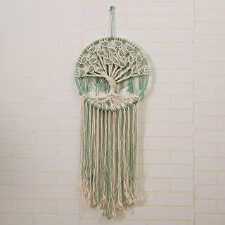 laddawan Macrame Wall Hanging Green and White Tree of Life Wall Art Decoration Home Decor Dream Catcher (X-Large)