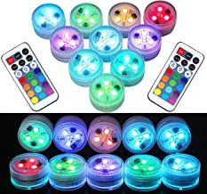 10Pcs Remote Submersible LED Lights Tea Lights Underwater Lights Battery Powered Flameless LED Accent Light for Party Even...