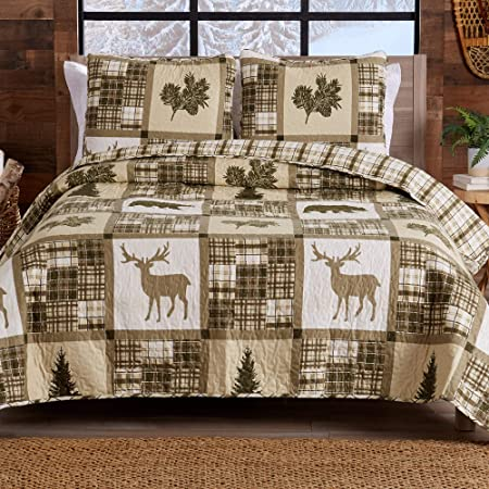 Lodge Bedspread King Size Quilt with 2 Shams. Cabin 3-Piece Reversible All Season Quilt Set. Rustic Quilt Coverlet Bed Set. Stonehurst Collection.