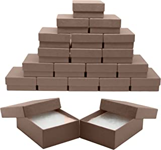 Novel Box MADE IN USA Jewelry Gift Box in Chocolate Kraft With Removable Cotton Pad 3X2.3X1