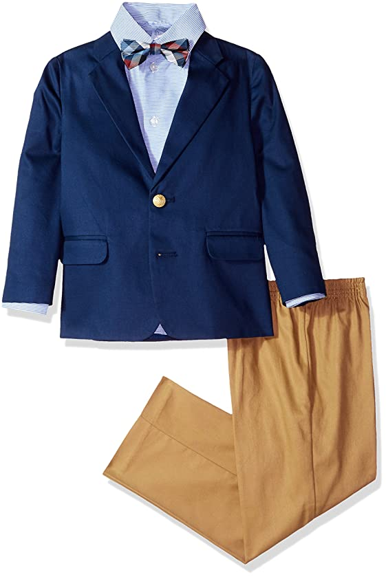 IZOD Boys' 4-Piece Suit Set with Dress Shirt, Bow Tie, Pants, and Jacket