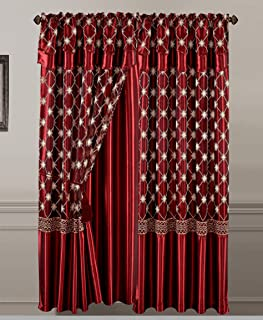 All American Collection New 2 Panel Elegant Embroidered Curtain with Attached Valance and Sheer Backing (84