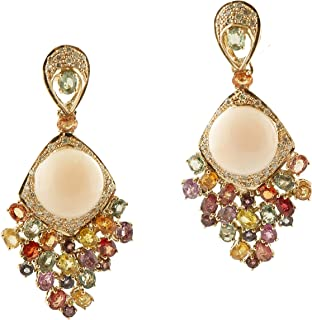 Orecchini Pendenti Oro Giallo, Corallo, Diamanti e Zaffiri