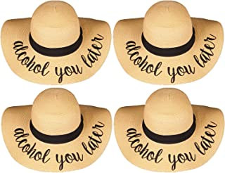 Funky Junque Womens Friends & Family Vacation Embroidered Floppy Beach Sun Hat Bundle