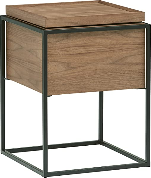 Rivet Axel Lid Storage Wood And Metal Side End Table Nightstand Walnut
