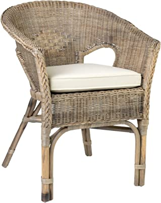 East at Main's Brown Rattan Square Accent Chair Traditional Wicker Natural Finish
