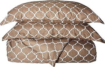 Chic Home Brooklyn 3 Piece Reversible Duvet Cover Set Geometric Diamond Fretwork Pattern Print Zipper Closure Bedding, Kin...