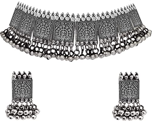 Afghani Oxidised Silver Jewellery Stylish Choker Necklace Set for Women Girls