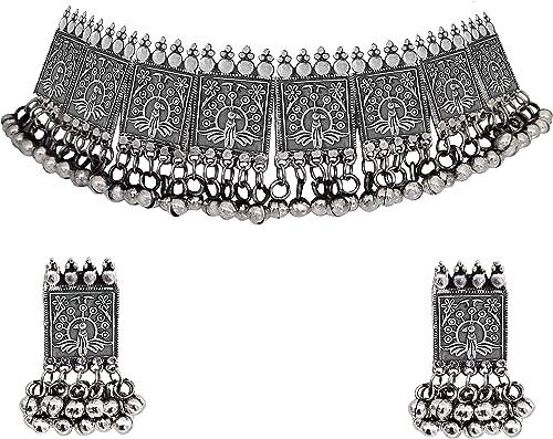 Afghani Oxidised Silver Jewellery Stylish Choker Necklace Set for Women Girls