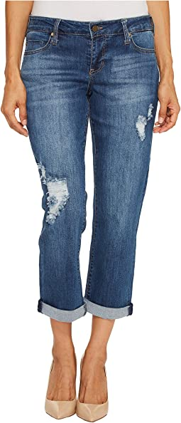 Petite Peyton Slim Boyfriend on Vintage Super Comfort Stretch Denim in Montauk Mid Blue