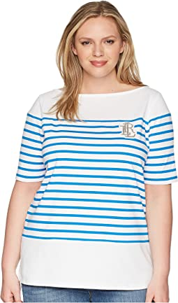 Plus Size LRL Striped Cotton T-Shirt