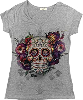 Sweet Gisele Sugar Skull Shirts for Women   V Neck T Shirt Tee   Beautiful Print Decorated with Rhinestones
