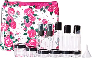 Miamica TSA Compliant Travel Bottles and Toiletry Bag Kit, 15 piece, Pink Rose
