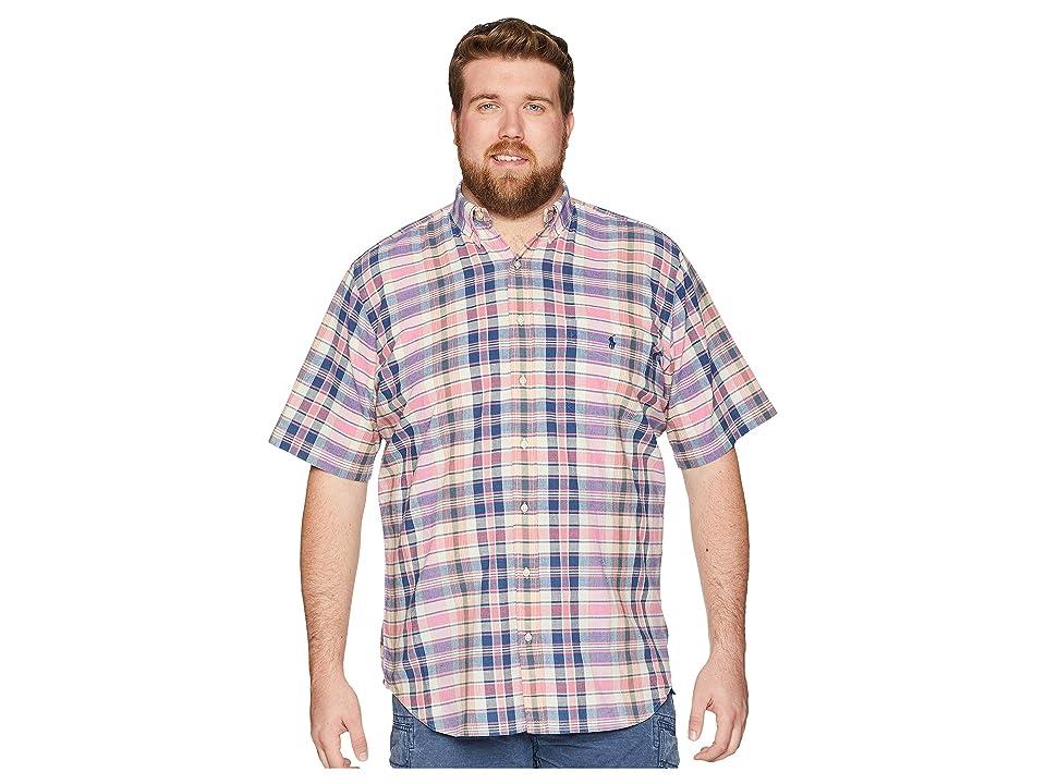 Polo Ralph Lauren Big Tall Madras Short Sleeve Sport Shirt (Pink/Indigo) Men