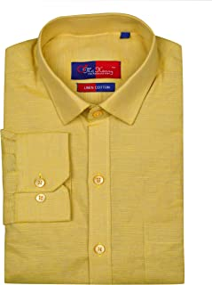 McHenry Mens Solid Formal Regular Fit Full Sleeves Linen Cotton Shirts(Size:39(M),Size:40(L),Size:42(XL),Size:44(XXL))