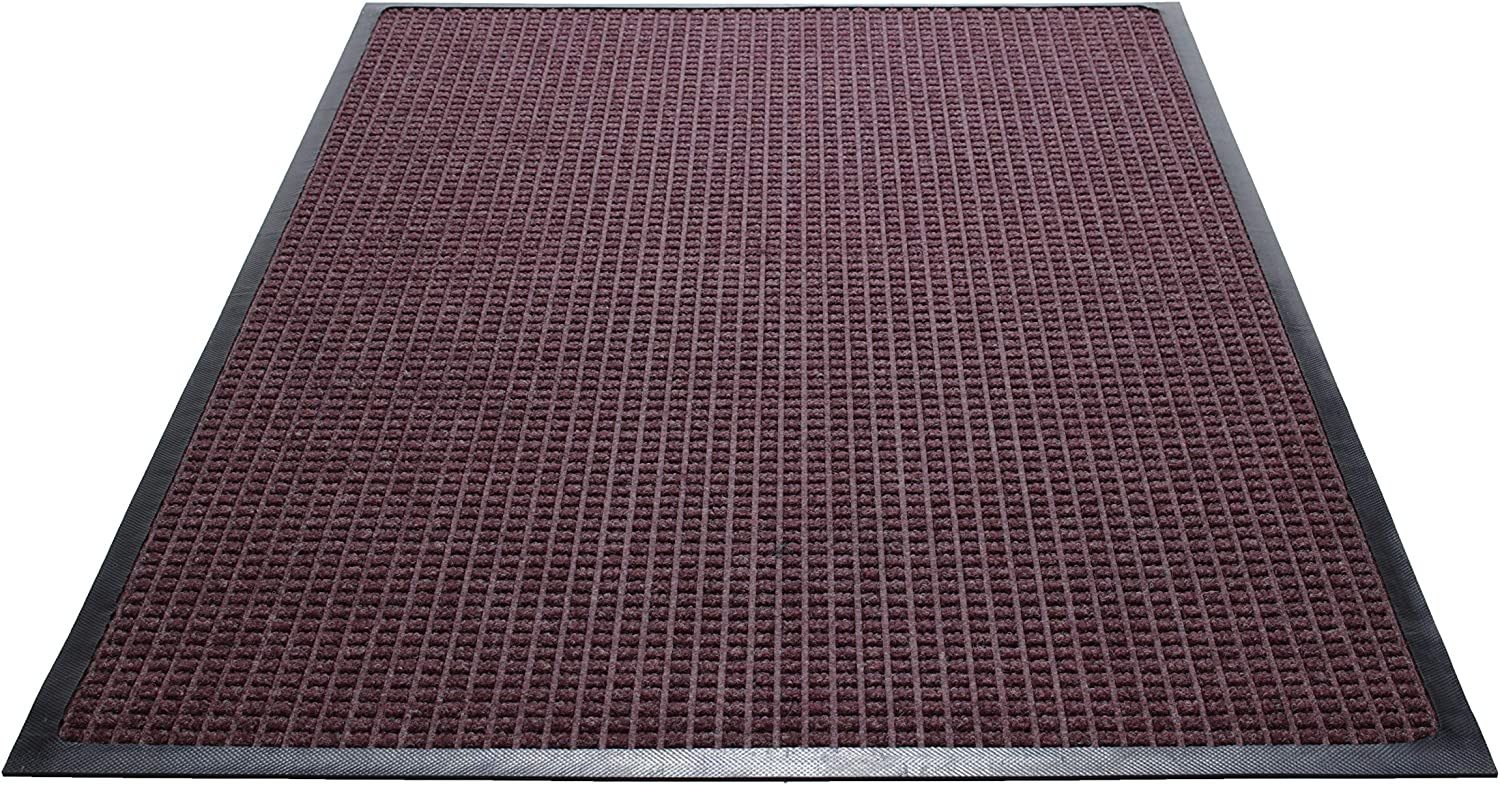 Guardian WaterGuard Indoor Outdoor Wiper Scraper Floor Mat, Rubber Nylon, 2'x3', Burgundy