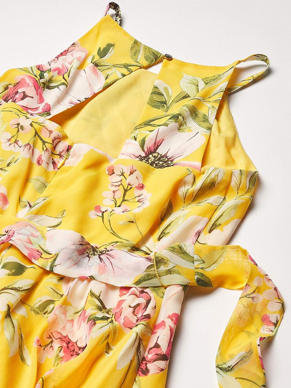 Vince Camuto Women's Printed Chiffon Halter High Low Dress