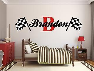 Custom Name Racing Monogram Wall Decal Boys Nursery Room...
