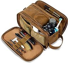 Elviros Toiletry Bag for Men, Large Travel Shaving Dopp Kit Water-resistant Bathroom Toiletries Organizer PU Leather Cosmetic Bags (Khaki)