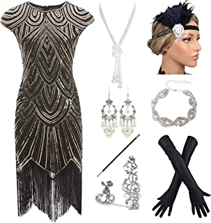 YENMILL Women 1920s Flapper Sequin Embellished Fringed Gatsby Plus Dress w/ 20s Costume Set