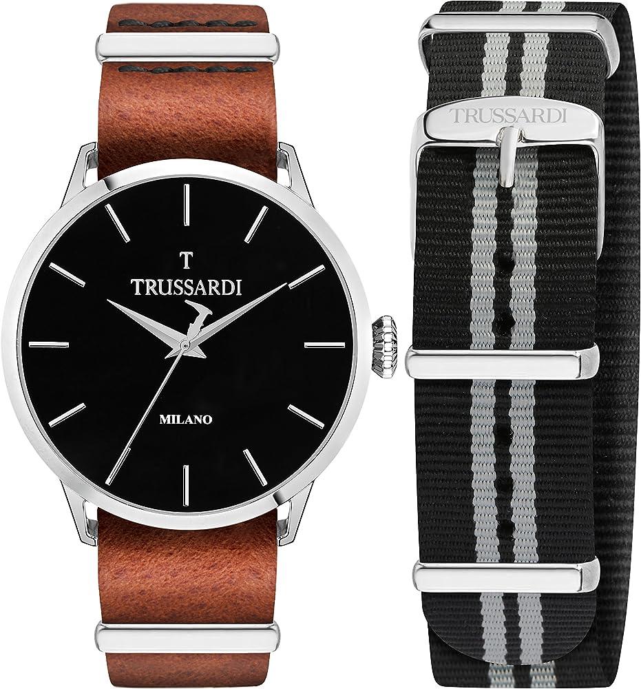 Trussardi orologio per uomo, con cinturino in pelle e cassa in acciaio inossidabile R2451123006