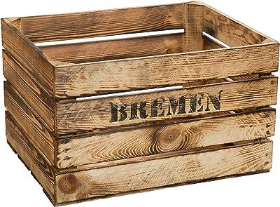 Flameado de madera 49 x 42 x 31 cm caja de fruta de // del vino de ...