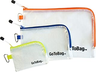 Organizer Storage Packing Bags by GoToBag - Water Resistant Solid Reinforced PVC Mesh Plastic with Zipper Closure and Carabiner - Clear 3 Pack Pouch - for Travel, Work, School, Crafts, Purse, Cables