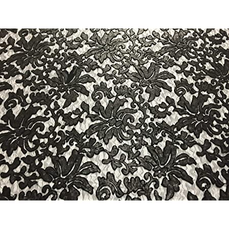 Floral Fashion Eternity Dress Sequins Lace Fabric BLACK By The Yard Gown New Beyonce