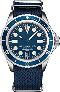 Stuhrling Original Watches for Men - Dive Watch-Sports Watch for Men with Screw Down Crown for Water Resistant to 200M - Nylon Analog Watch Japanese Quartz Watch Movement - Mens Watches